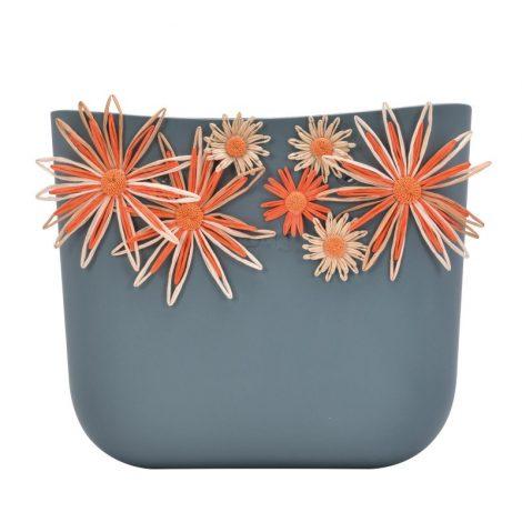 Nuova scocca borsa O Bag estate 2018 con fiori in rafia colore Atlantic