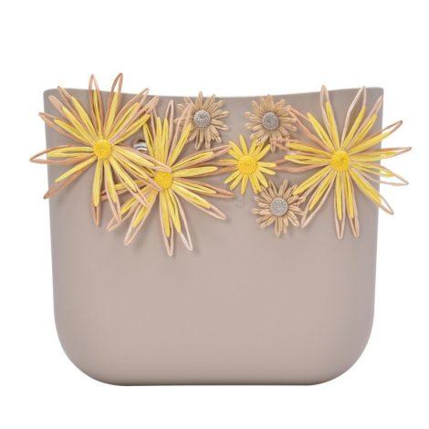 Nuova scocca borsa O Bag estate 2018 con fiori in rafia colore Sabbia
