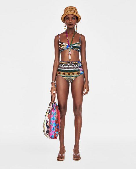 Bikini ZARA double face con slip a vita alta estate 2018