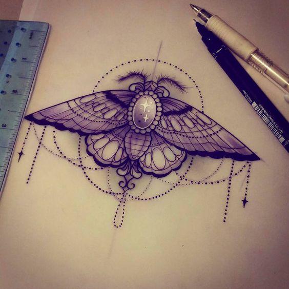 Disegno per tatuaggio Falena