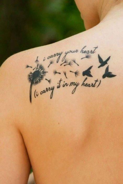 Immagine tatuaggio soffione con scritte Immagine tatuaggio soffione con scritte 470x705 - 15 Immagini e Significato Tatuaggio Soffione