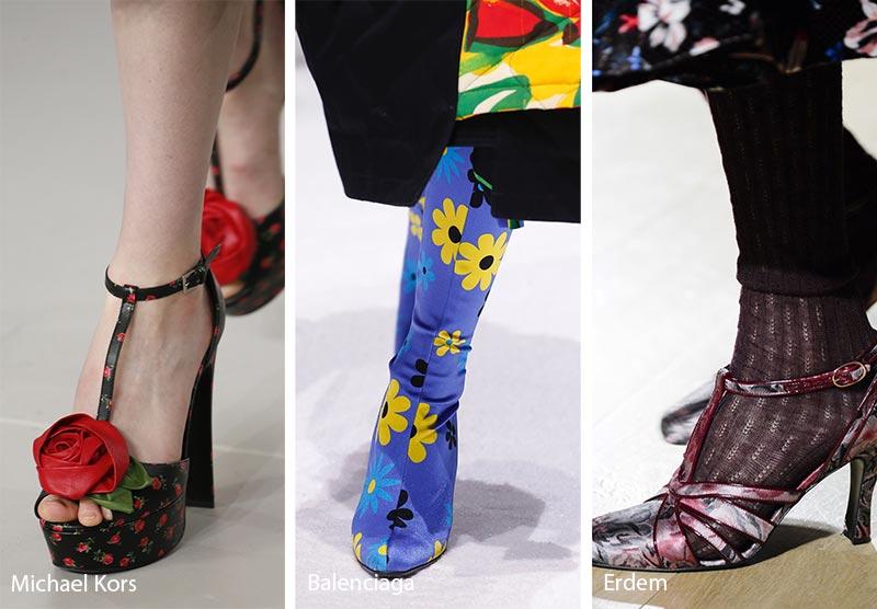 Stampe floreali tendenza moda scarpe inverno 2018 2019