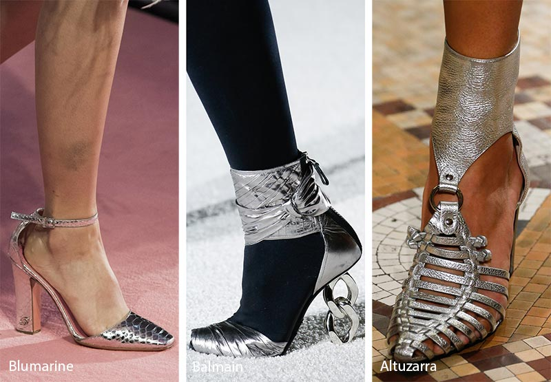 Tendenze moda scarpe inverno 2018 2019 in pelle argentata
