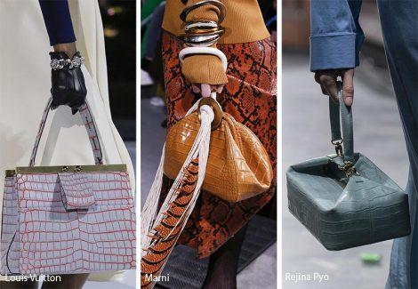 Borse in pelle effetto coccodrillo moda inverno 2018 2019