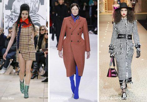 Fantasia pied de poule moda abbigliamento autunno inverno 2018 2019