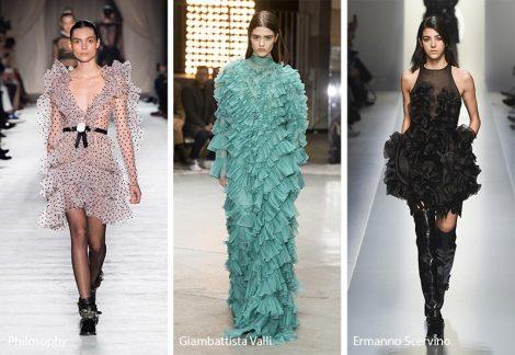Romantici volants moda abbigliamento donna inverno 2018 2019