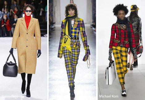 Stampa a quadri scozzesi moda abbigliamento autunno inverno 2018 2019
