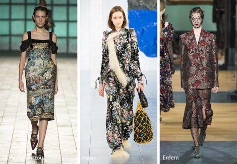 Stampe broccato moda abbigliamento autunno inverno 2018 2019