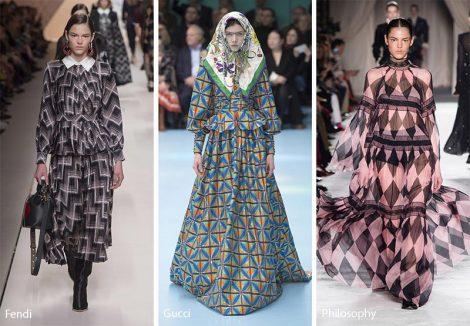 Stampe geometriche moda abbigliamento donna autunno inverno 2018 2019