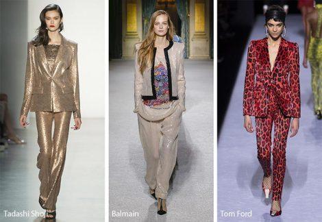Tailleur giacca pantaloni moda donna inverno 2018 2019 con paillettes