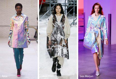 Tendenze Moda abbigliamento donna inverno 2018 2019 tessuto effetto metallico