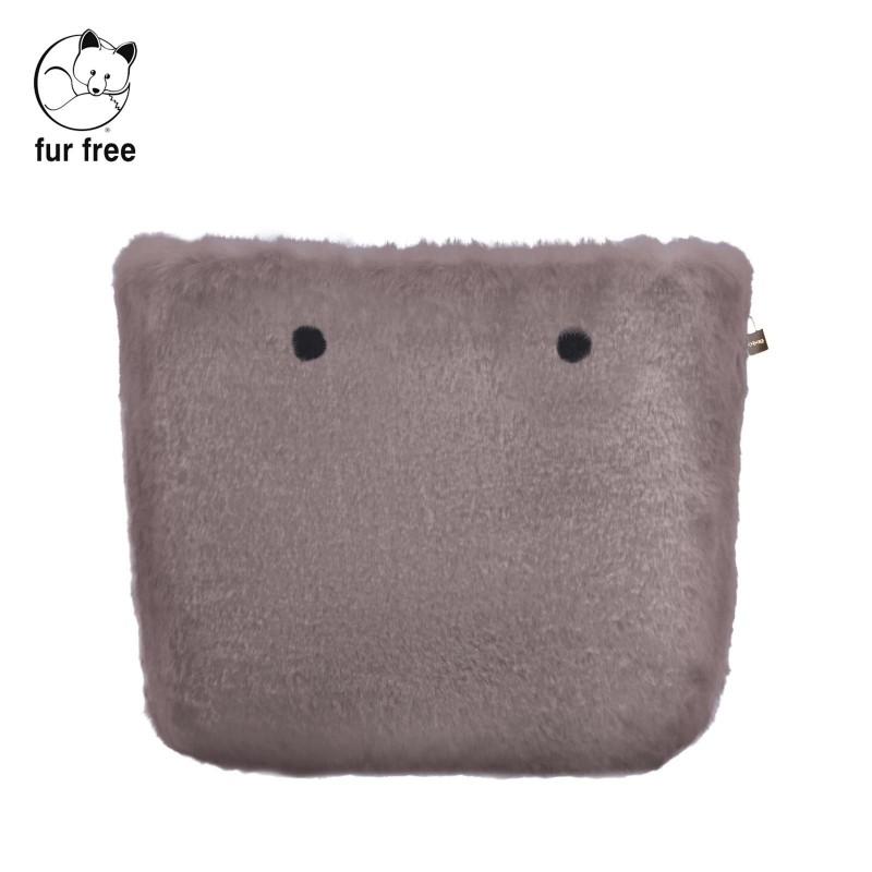 Cover borsa O Bag in ecopelliccia lapin tortora