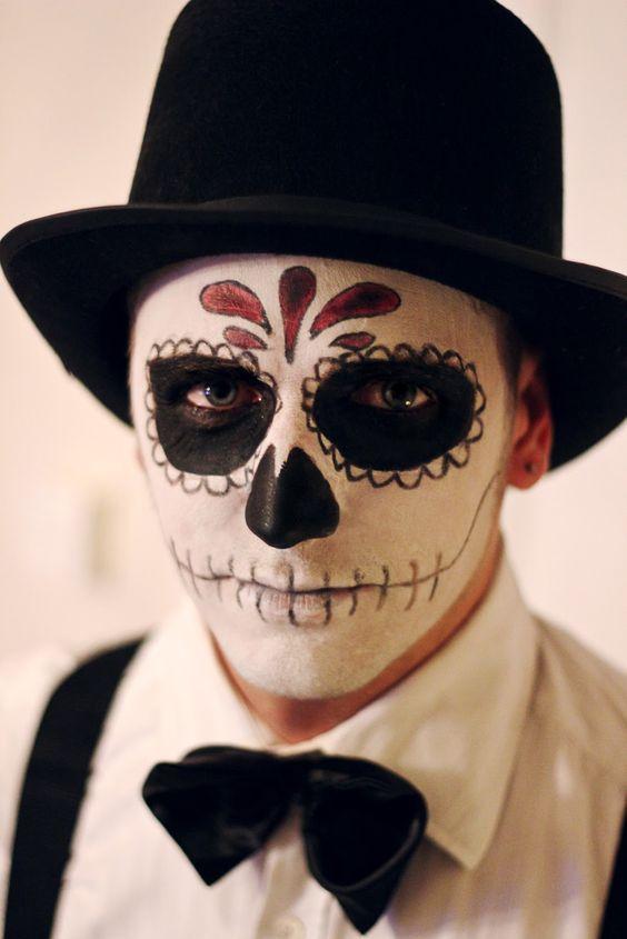 Facile Trucco uomo Halloween da Calavera Teschio Messicano