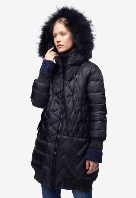 Piumino lungo con cappuccio fisso con cappuccio Blauer donna prezzo 641 euro inverno 2018 2019