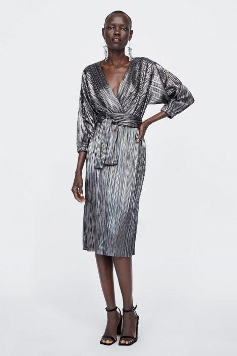 Vestito Zara metallizzato inverno 2018 2019 470x705 - ZARA Abiti eleganti da sera e Capodanno 2018 2019