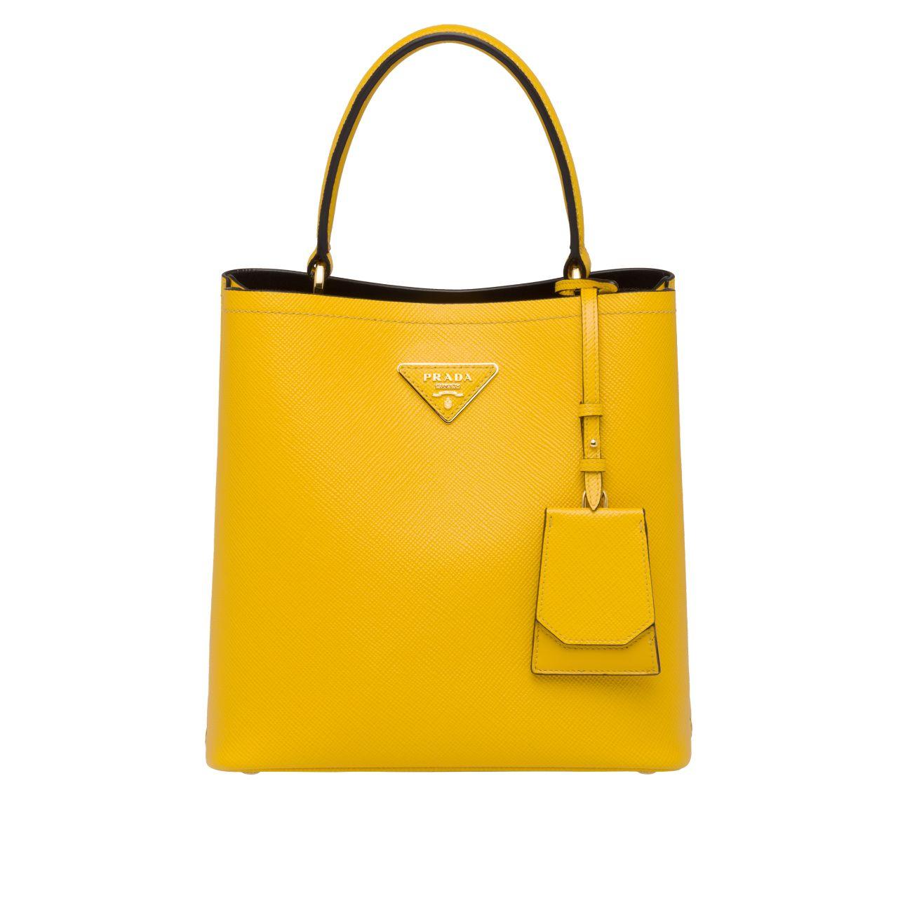Borsa a mano Prada Double Medium Saffiano giallo estate 2019 prezzo 1750 euro