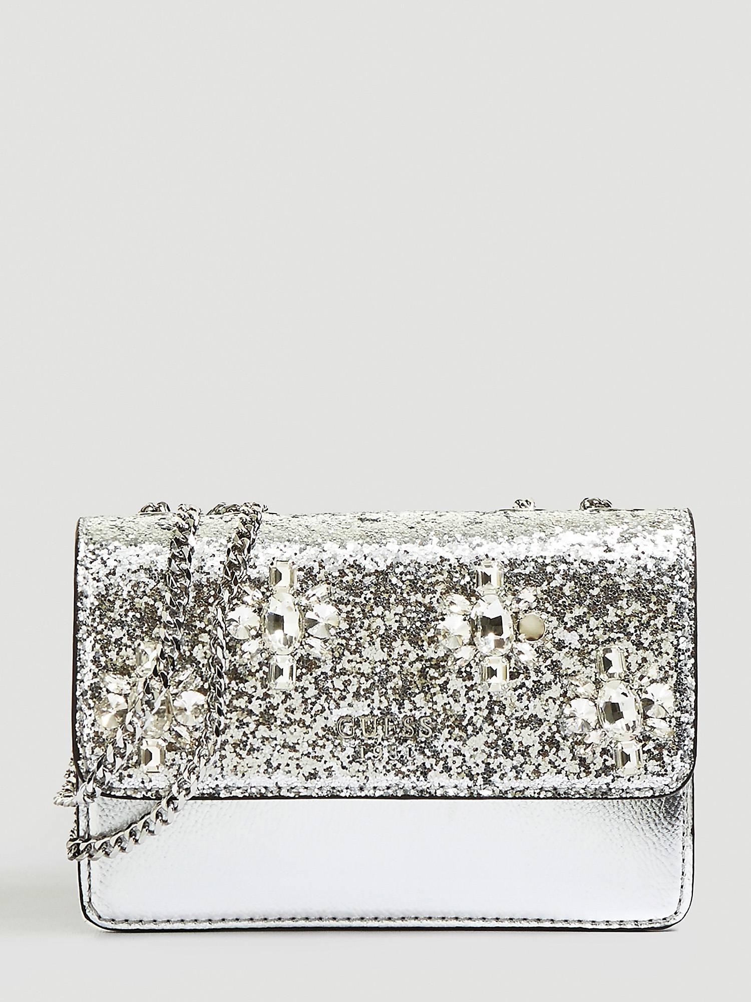 Borsetta da sera silver con glitter Guess primavera estate 2019 prezzo 95 euro