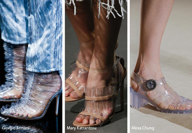 Calzature in pvc trasparente moda primavera estate 2019