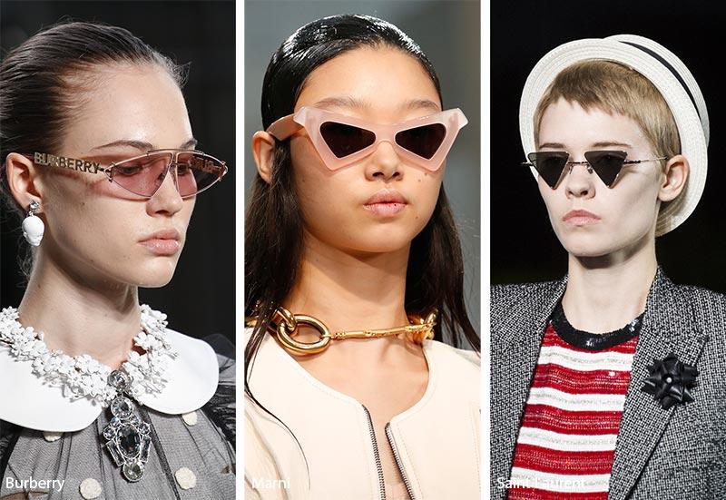 Occhiali da sole con lenti triangolari moda estate 2019