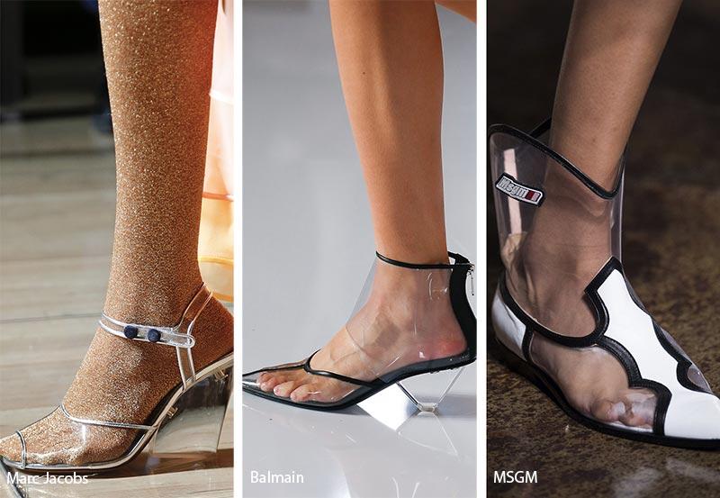 Scarpe e Sandali in pvc trasparente moda primavera estate 2019