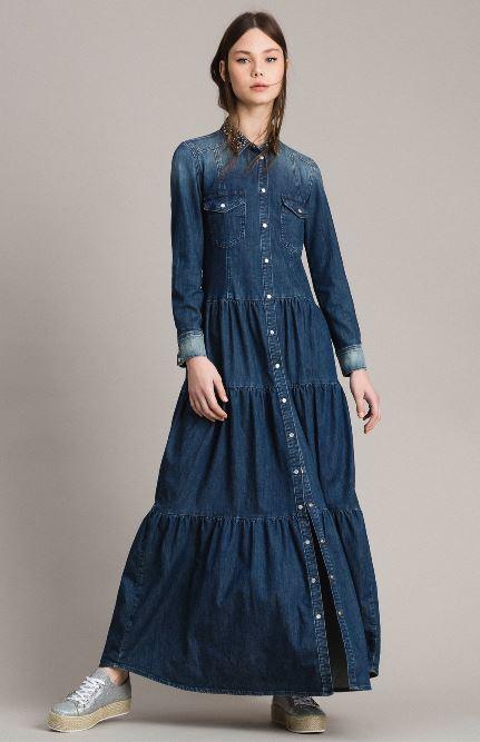 Vestito lungo in denim Twin Set primavera 2019 prezzo 255 euro