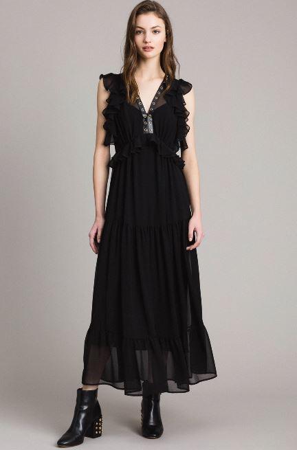 Vestito lungo nero Twin Set collezione primavera estate 2019 prezzo 215 euro