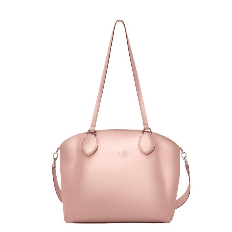 Nuova borsa O Bag Soft Mild cipria metal con manici lunghi e tracolla primavera estate 2019 prezzo 102 euro