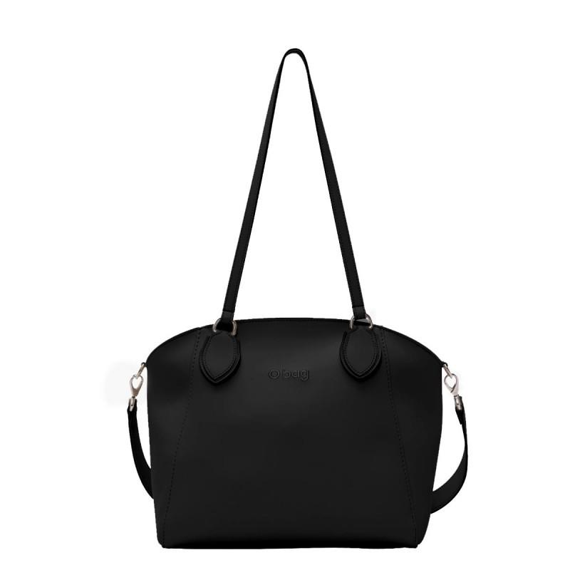 Nuova borsa O Bag Soft Mild nera con manici lunghi e tracolla primavera estate 2019 prezzo 102 euro