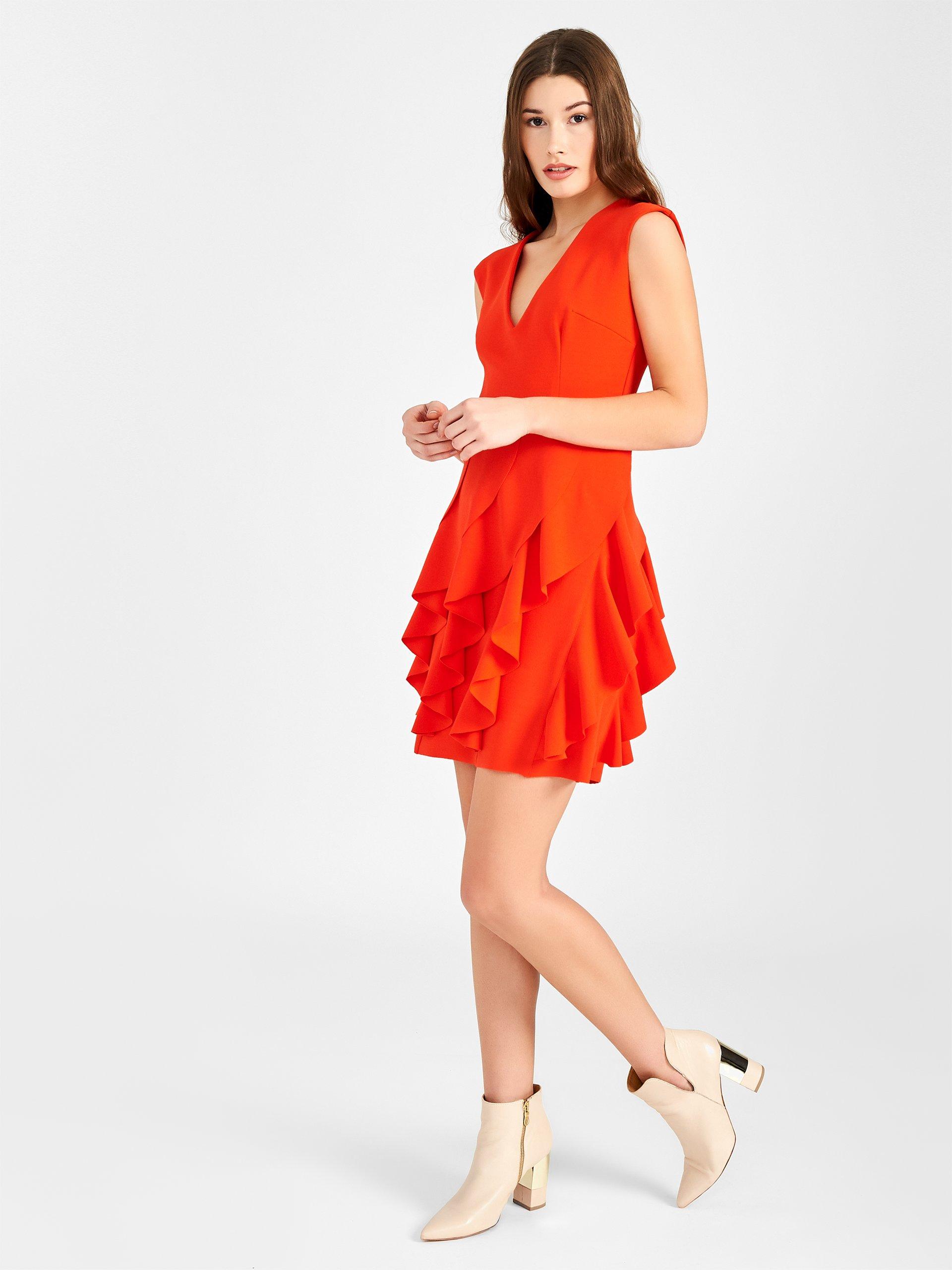 Vestito corto arancione con gonna con rouches Rinascimento prezzo 99 euro estate 2019