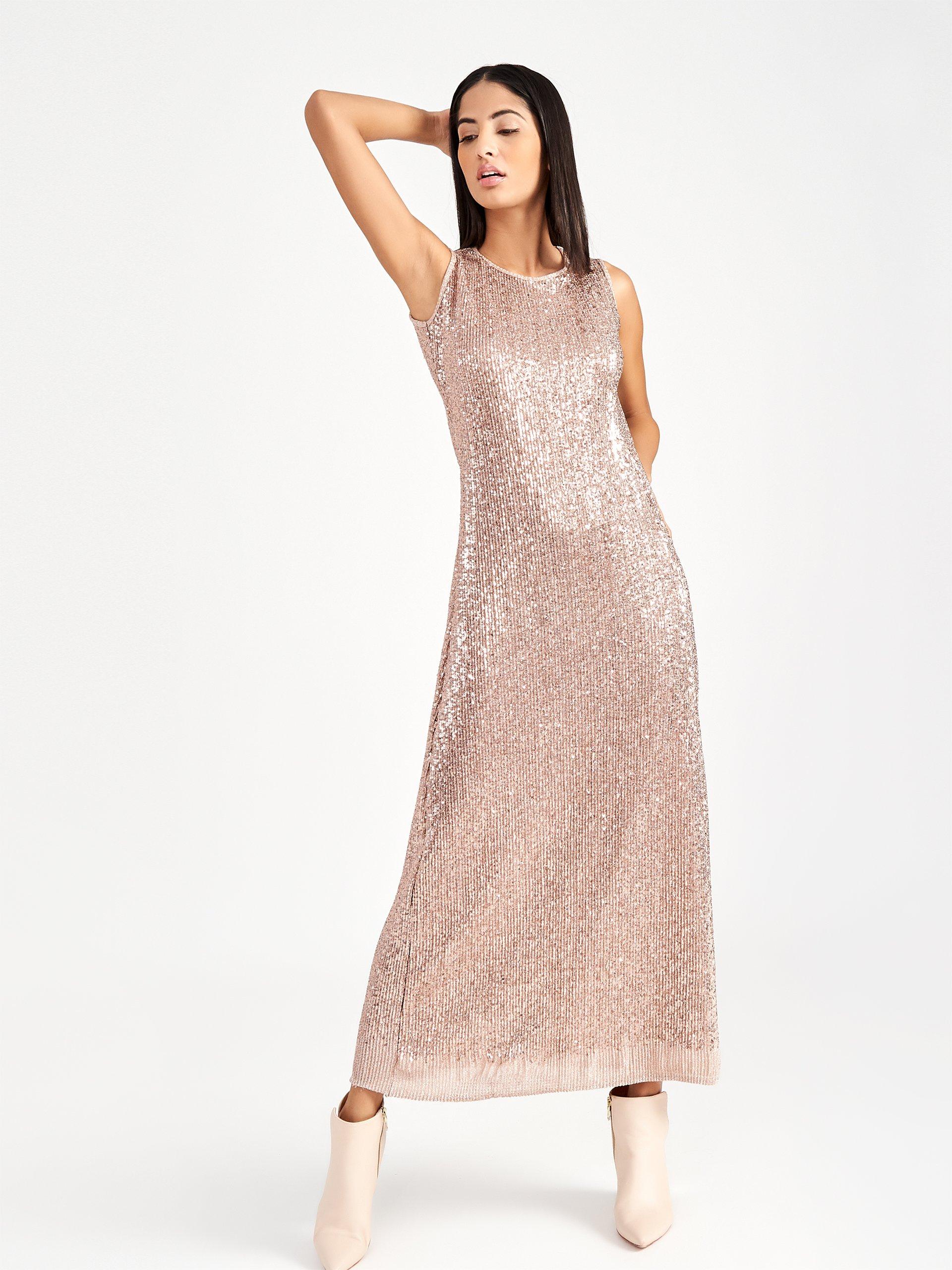 Vestito lungo in paillettes Rinascimento collezione primavera estate 2019 prezzo 109 euro