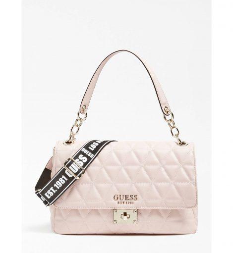 Borsa a spalla Guess modello Laiken rosa chiaro inverno 2019 2020 prezzo 145 euro 470x511 - Nuove Borse GUESS inverno 2019 2020