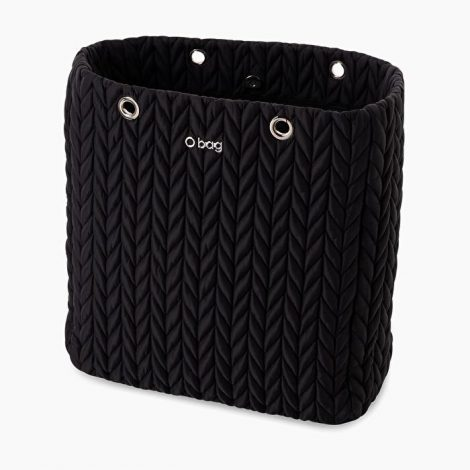 Scocca nuova borsa O bag Market in tessuto piumino spigato nero 470x470 - Nuova Borsa O Bag Market Inverno 2019 2020: foto e prezzi