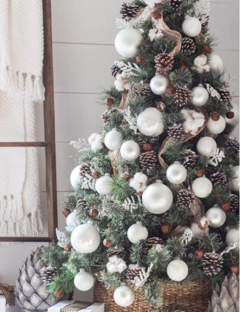 Albero di Natale 2019 rustico con pigne vere 470x611 - Colori Alberi di Natale 2019