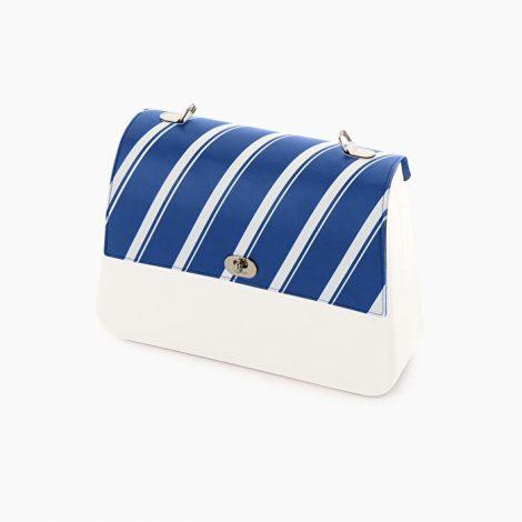 Pattina borsa O bag Queen in ecopelle a righe bianche e blu collezione inverno 2019 2020 470x470 - Borsa o Bag Queen collezione inverno 2019 2020