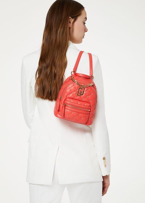 Zainetto Liu Jo in ecopelle trapuntata con strass primavera estate 2020 colore rosso corallo 470x655 - Liu Jo Zaini Primavera Estate 2020